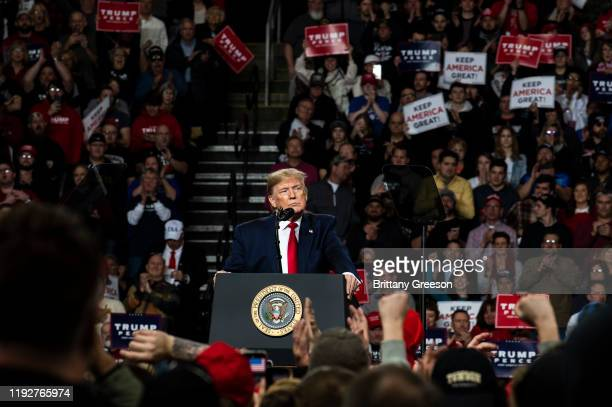 """President Donald Trump speaks at a """"Keep America Great"""" campaign rally at the Huntington Center on January 9, 2020 in Toledo, Ohio. President Trump..."""