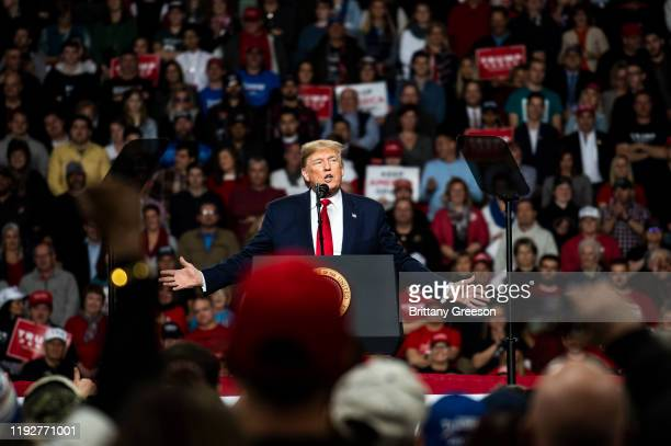 President Donald Trump speaks at a Keep America Great campaign rally at the Huntington Center on January 9 2020 in Toledo Ohio President Trump won...