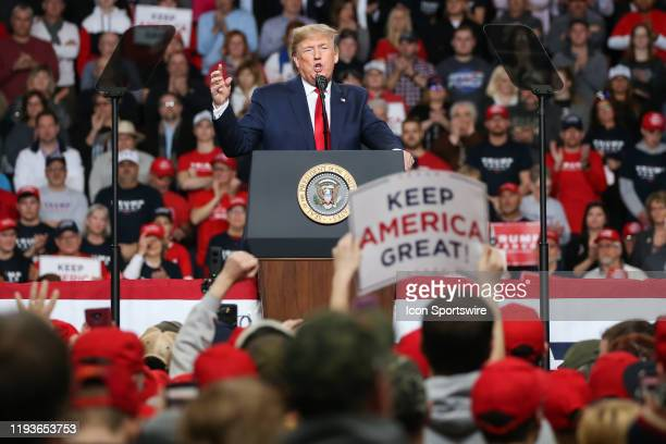 """President Donald Trump speaks at a """"Keep America Great"""" campaign rally on January 9, 2020 at the Huntington Center in Toledo, Ohio."""