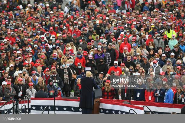 "President Donald Trump speaks at a ""Make America Great Again"" rally in Reading, Pennsylvania, on October 31, 2020."