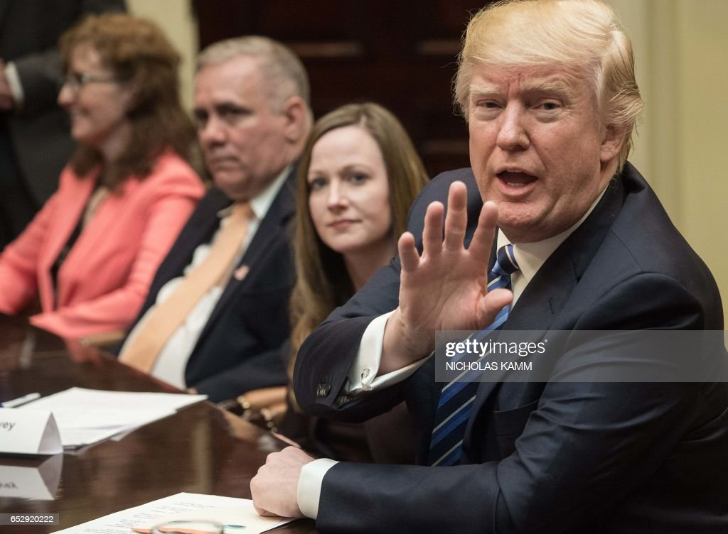 US President Donald Trump speaks at a meeting about healthcare in the Roosevelt Room at the White House in Washington, DC, on March 13, 2017. /