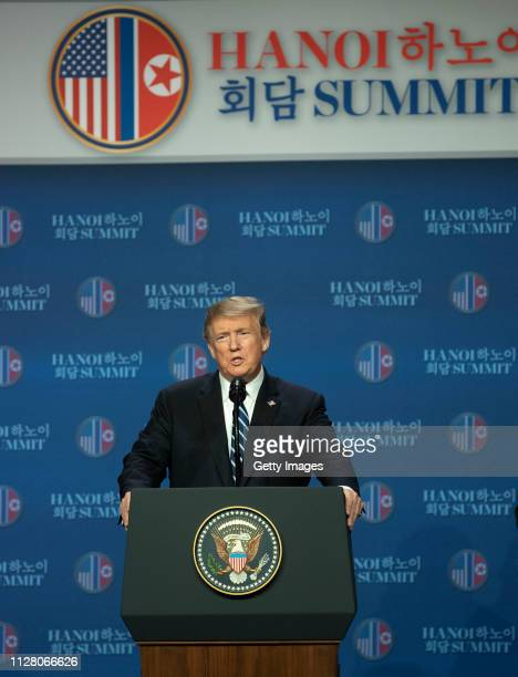 S President Donald Trump speaks at a news conference following his second summit meeting with North Korean leader Kim Jongun on February 28 2019 in...