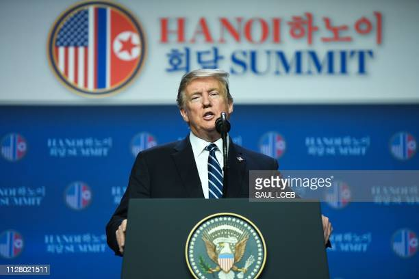 US President Donald Trump speaks at a press conference following the second USNorth Korea summit in Hanoi on February 28 2019 The nuclear summit...