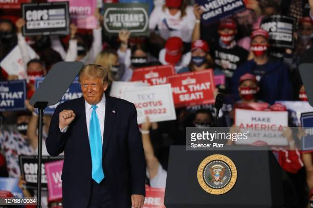 President Donald Trump speaks at a rally at Harrisburg International Airport on September 26 2020 in Middletown Pennsylvania Trump announced that Amy...