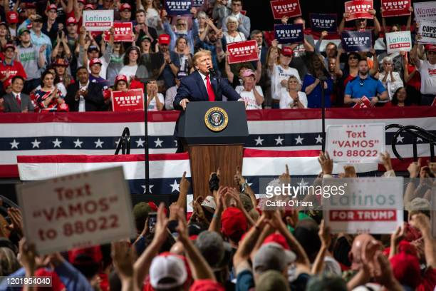 President Donald Trump speaks at a rally at the Arizona Veterans Memorial Coliseum on February 19, 2020 in Phoenix, Arizona. President Trump says he...