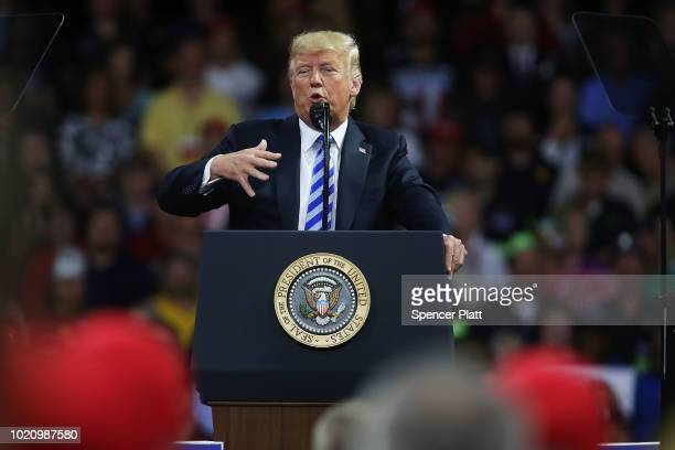 President Donald Trump speaks at a rally at the Charleston Civic Center on August 21 2018 in Charleston West Virginia Paul Manafort a former campaign...
