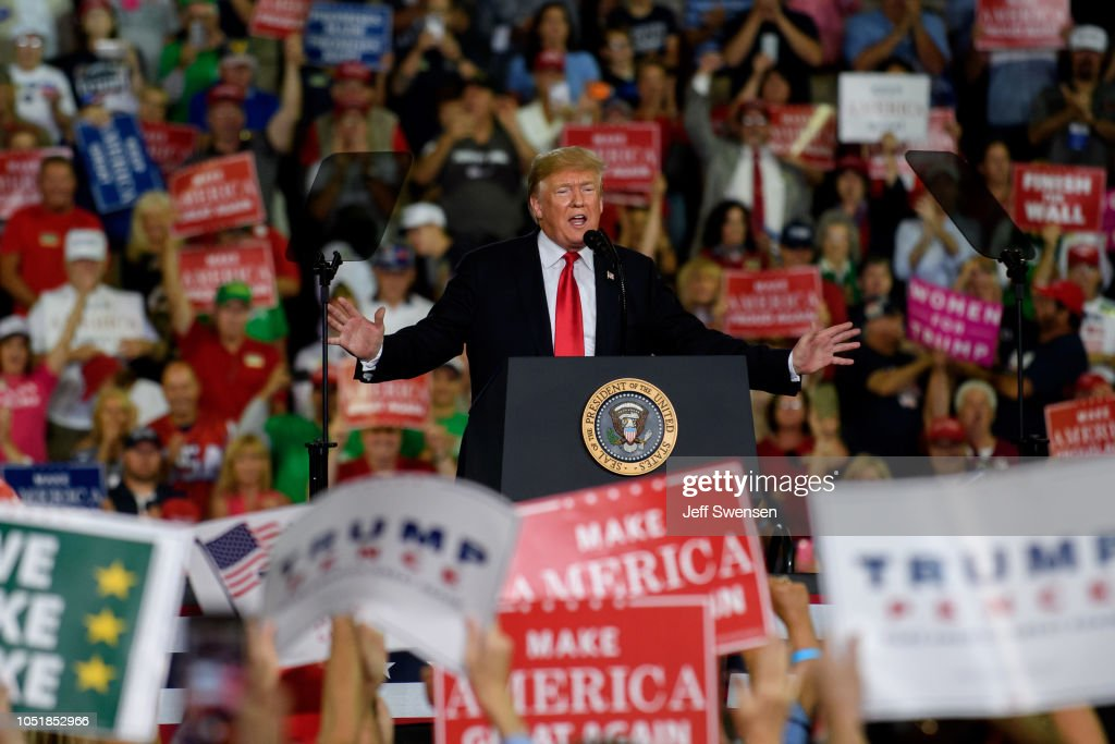 President Trump Holds Rally In Erie, Pennslyvania : News Photo