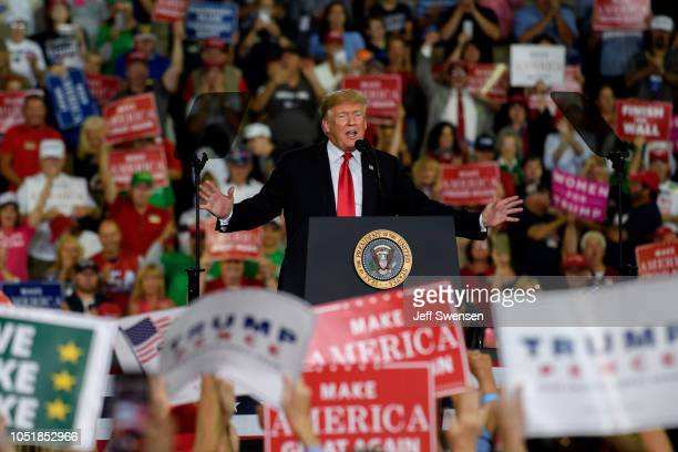 S President Donald Trump speaks at a rally at the Erie Insurance Arena on October 10 2018 in Erie Pennsylvania This was the second rally hosted by...