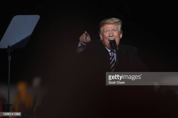 President Donald Trump speaks at a rally in support of U S Senate candidate Josh Hawley on November 1 2018 in Columbia Missouri Hawley is in a tight...