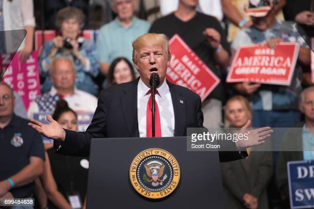 President Donald Trump speaks at a rally on June 21 2017 in Cedar Rapids Iowa Trump spoke about renegotiating NAFTA and building a border wall that...