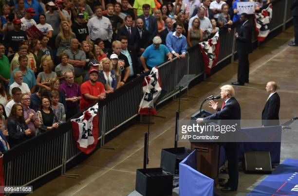 US President Donald Trump speaks at a rally on June 21 in Cedar Rapids Iowa / AFP PHOTO / Nicholas Kamm