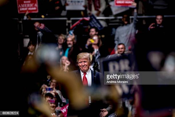 President Donald Trump speaks at a rally on March 15 2017 in Nashville Tennessee During his speech Trump promised to repeal and replace Obamacare and...
