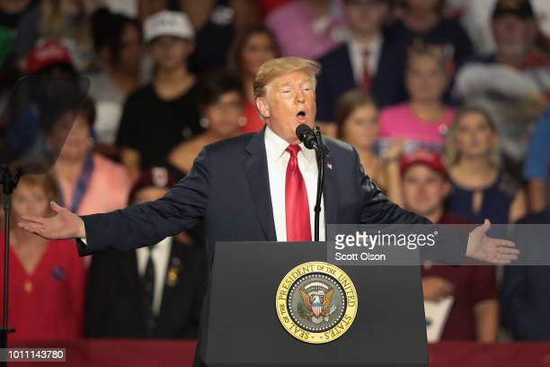 President Donald Trump speaks at a rally to show support for Ohio Republican congressional candidate Troy Balderson on August 4 2018 in Lewis Center...