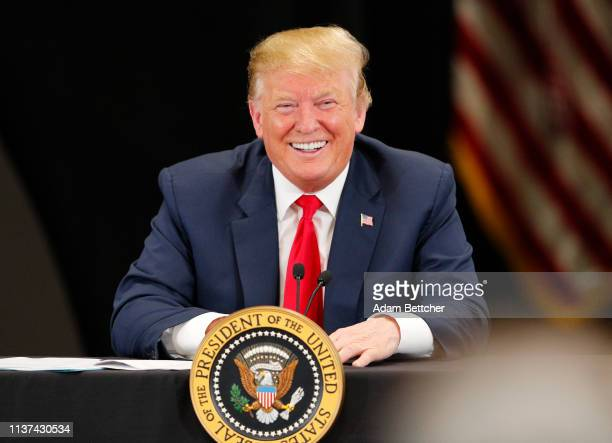 President Donald Trump speaks at a roundtable on the economy and tax reform at Nuss Trucking and Equipment on April 15, 2019 in Burnsville,...