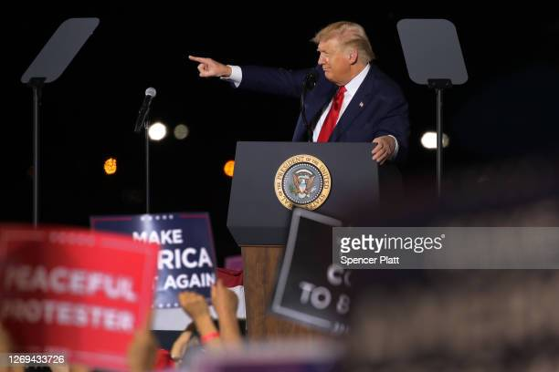 President Donald Trump speaks at an airport hanger at a rally a day after he formally accepted his party's nomination at the Republican National...