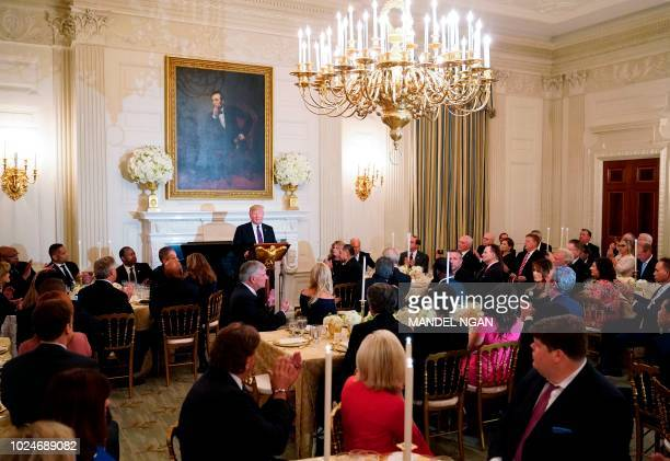 President Donald Trump speaks at an event honoring Evangelical leadership in the State Dining Room of the White House on August 27, 2018 in...