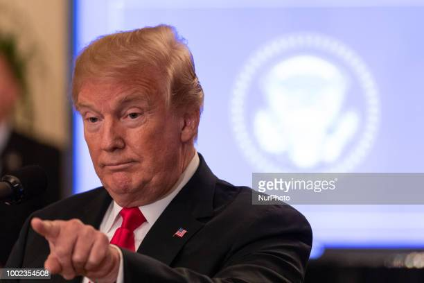 US President Donald Trump speaks at an event where he signed an executive order establishing a National Council for the American Worker President...