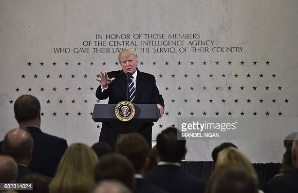 US President Donald Trump speaks at CIA Headquarters in Langley Virginia on January 21 2017 The new president was moving quickly on his first full...