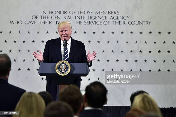 US President Donald Trump speaks at CIA Headquarters in Langley Virginia on January 21 2017 Trump told the CIA Saturday it had his fervent support as...