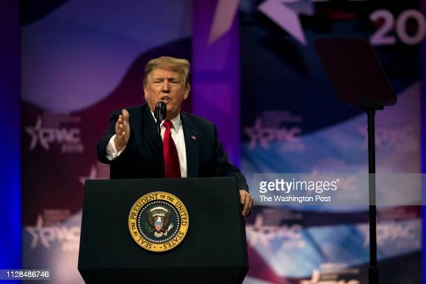 S President Donald Trump speaks at CPAC in National Harbor Maryland Saturday March 2 2019