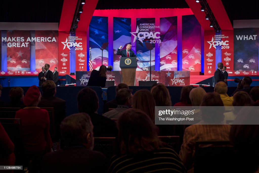 U.S. President Donald Trump speaks at CPAC in National Harbor, Maryland... : News Photo