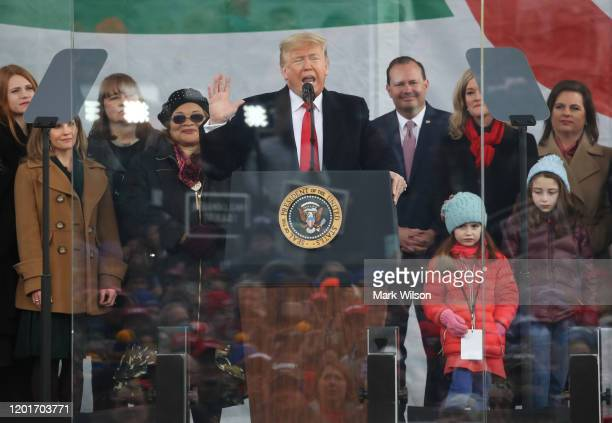 S President Donald Trump speaks at the 47th March For Life rally on the National Mall January 24 2019 in Washington DC The Right to Life Campaign...