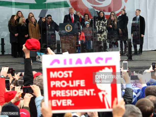 President Donald Trump speaks at the 47th March For Life rally on the National Mall, January 24, 2019 in Washington, DC. The Right to Life Campaign...