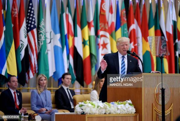 US President Donald Trump speaks at the Arab Islamic American Summit at the King Abdulaziz Conference Center in Riyadh on May 21 2017 / AFP PHOTO /...