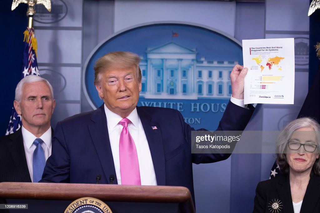 President Trump Holds Press Conference With CDC Officials On Coronavirus : News Photo