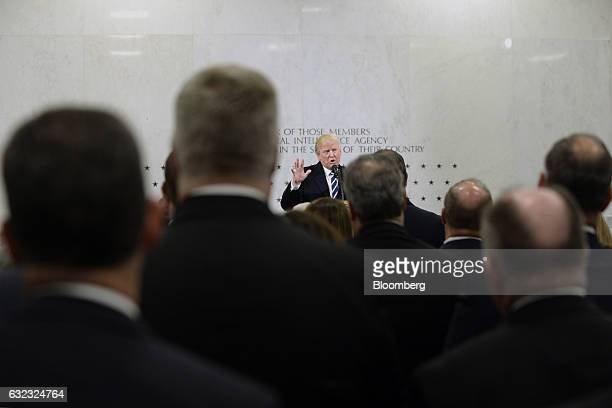 US President Donald Trump speaks at the CIA Headquarters in Langley Virginia US on Saturday Jan 21 2017 Trump assured employees at the CIA of his...