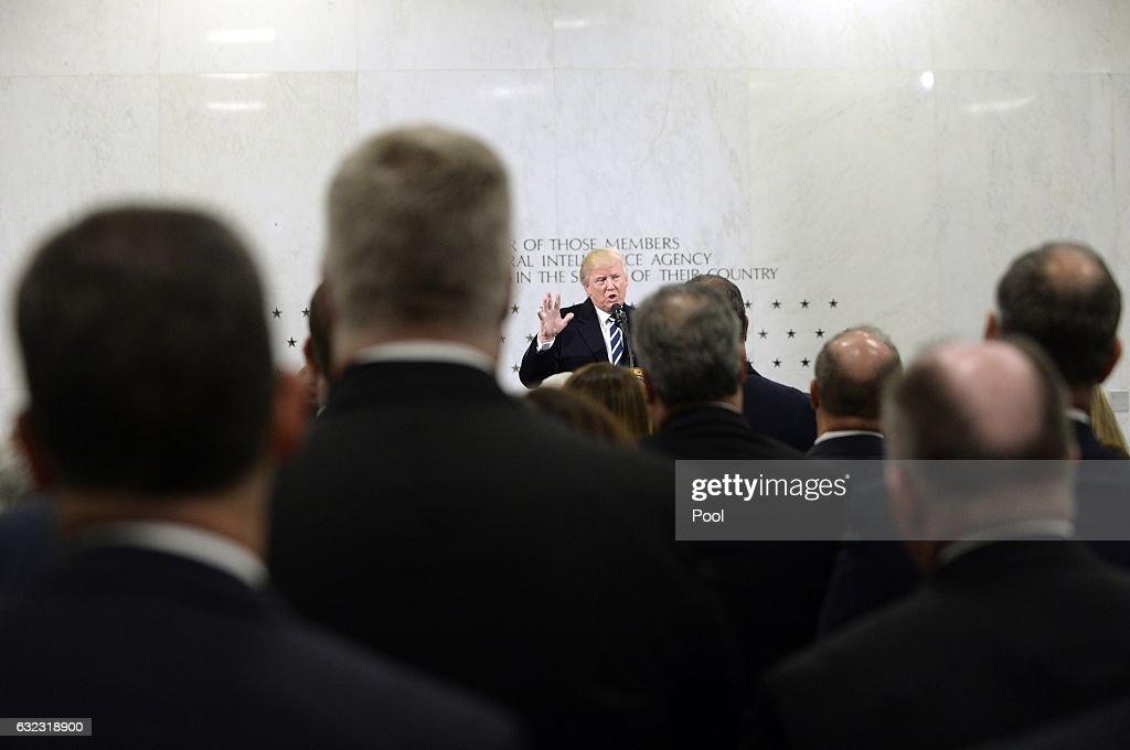President Trump Speaks At CIA Headquarters : News Photo