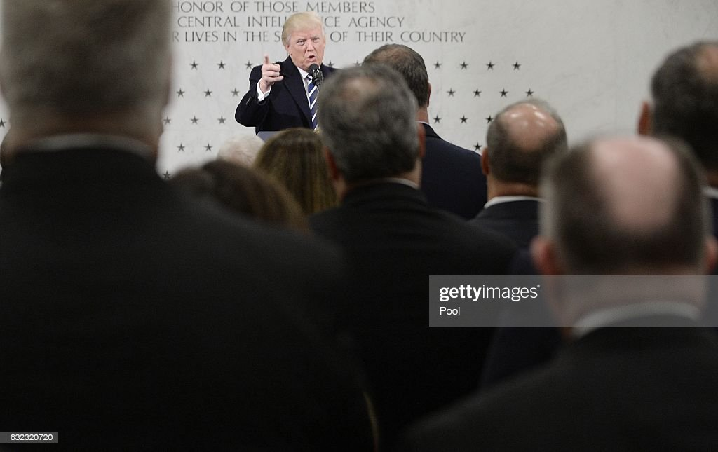US President Donald Trump speaks at the CIA headquarters on January 21, 2017 in Langley, Virginia . Trump spoke with about 300 people in his first official visit with a government agaency.
