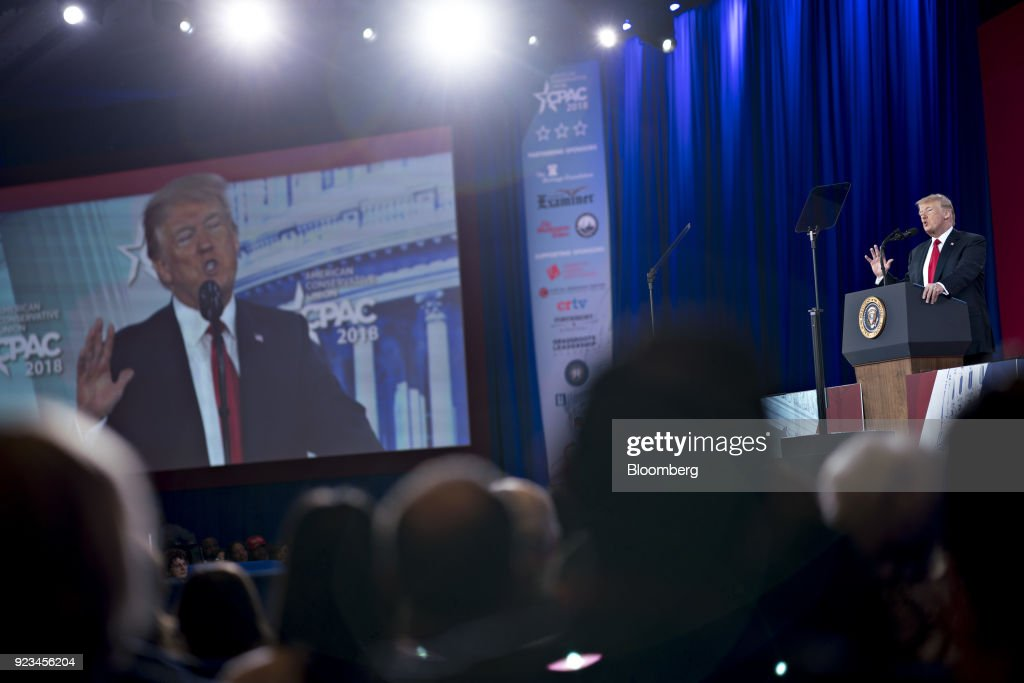 U.S. President Donald Trump speaks at the Conservative Political Action Conference (CPAC) in National Harbor, Maryland, U.S., on Friday, Feb. 23, 2018. The list of speakers at CPAC includes two European nativists who are addressing the gathering between panels and events on the dangers of immigration, Sharia law and lawless government agencies. Photographer: Andrew Harrer/Bloomberg via Getty Images