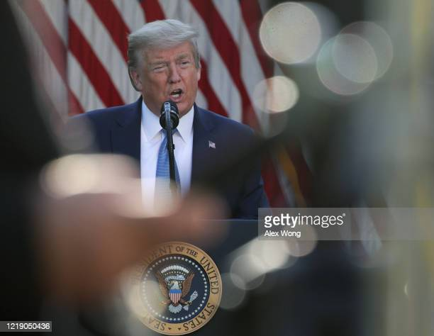 S President Donald Trump speaks at the daily briefing of the White House Coronavirus Task Force in the Rose Garden at the White House April 15 2020...