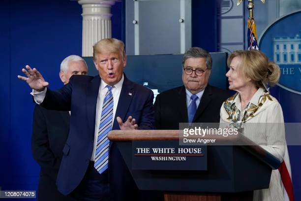 S President Donald Trump speaks at the daily coronavirus briefing joined by Vice President Mike Pence Attorney General William Barr and White House...