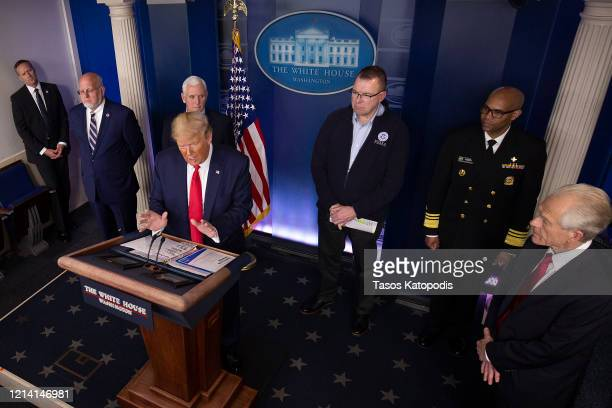 S President Donald Trump speaks at the daily coronavirus briefing joined by Dr Robert Redfield Director of the Center for Disease Control and...