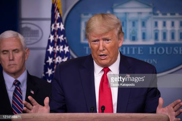 S President Donald Trump speaks at the daily coronavirus briefing in the James Brady Press Briefing Room at the White House on March 22 2020 in...