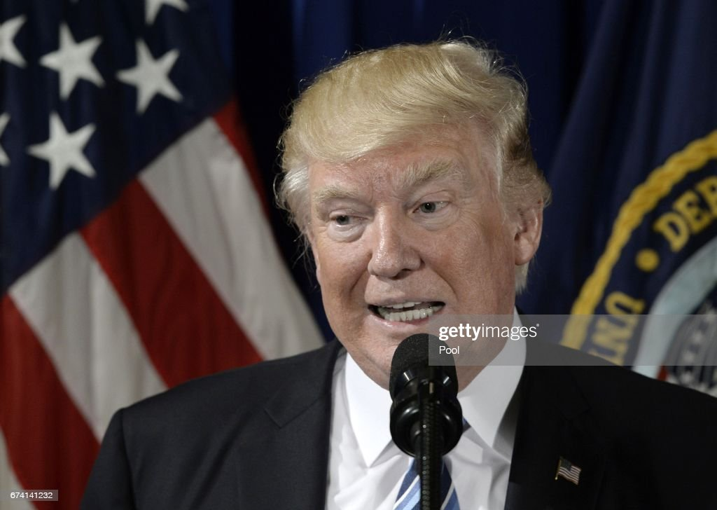 President Trump speaks at the Department of Veterans Affairs : News Photo