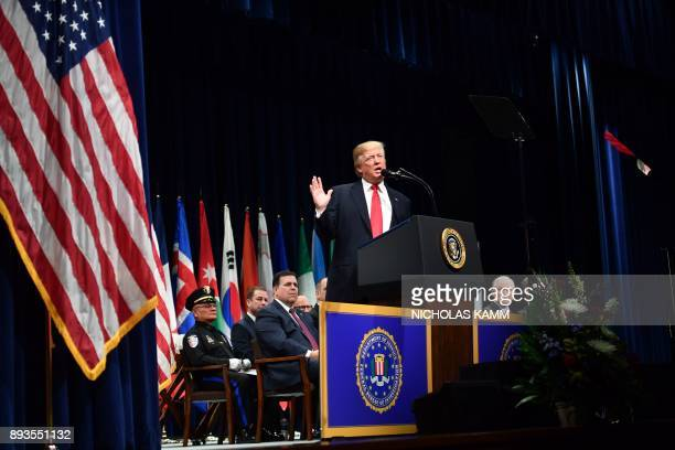 US President Donald Trump speaks at the FBI National Academy graduation ceremony on December 15 2017 in Quantico Virginia / AFP PHOTO / Nicholas Kamm