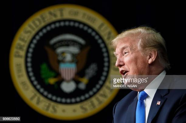 President Donald Trump speaks at The Generation Next event, a White House Forum featuring millennial voters and administration officials on March 22...