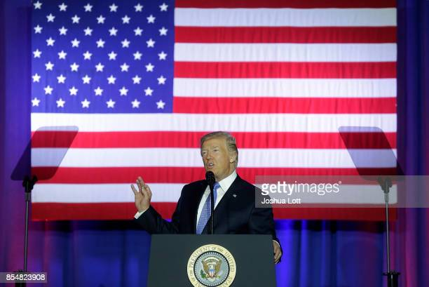 S President Donald Trump speaks at the Indiana State Fairgrounds Event Center September 27 2017 in Indianapolis Indiana Trump spoke about the...