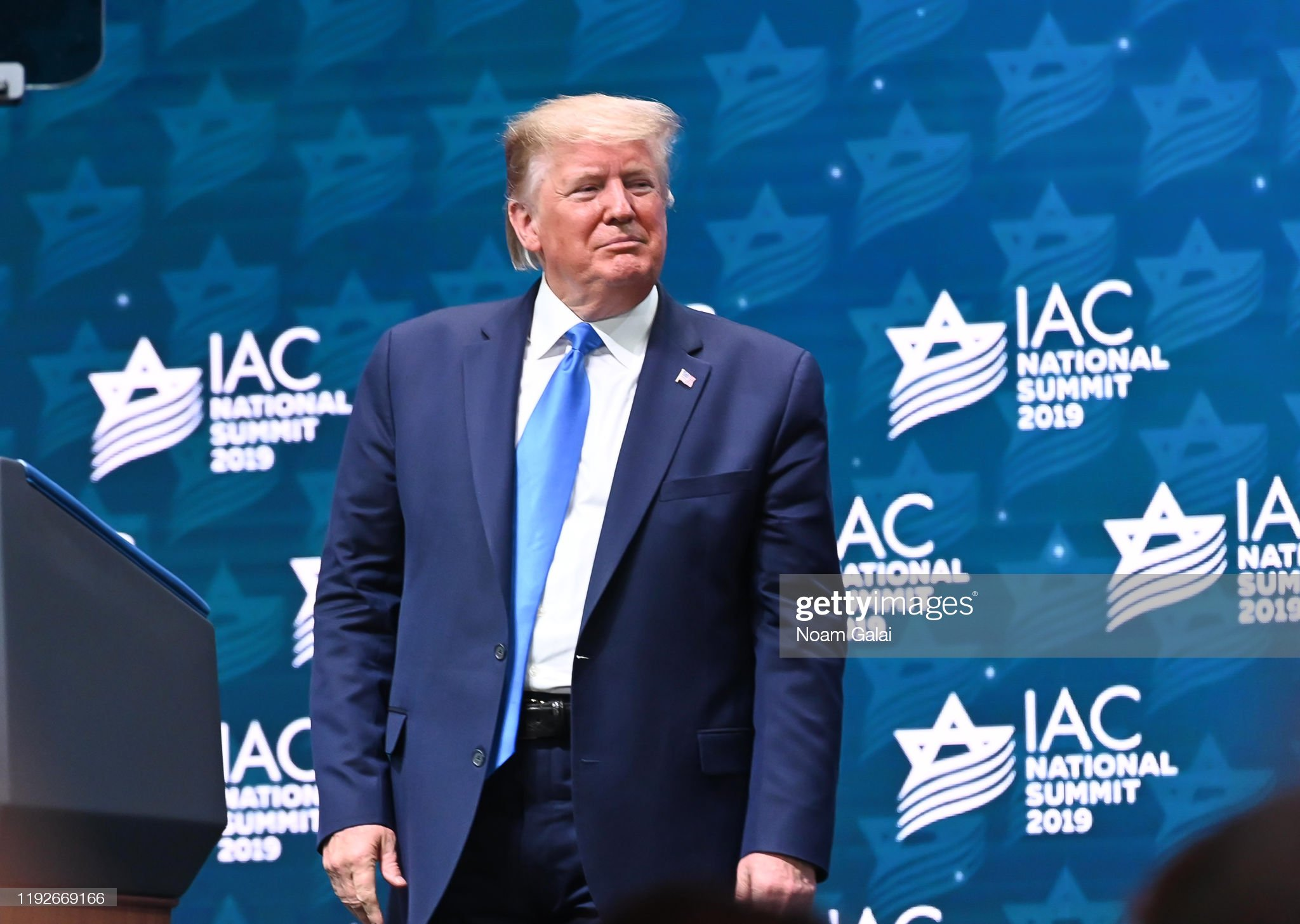 President Donald Trump Speaks At Israeli American Council : News Photo