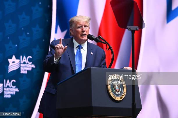 President Donald Trump speaks at the Israeli American Council National Summit on December 07, 2019 in Hollywood, Florida.