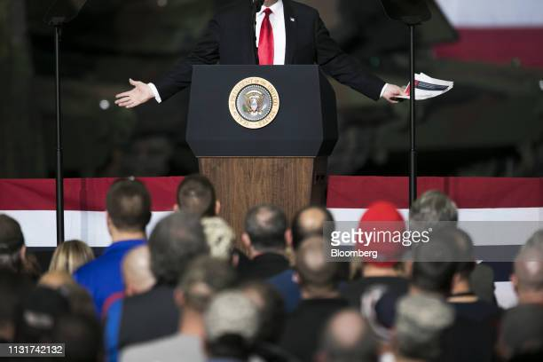 US President Donald Trump speaks at the Joint Systems Manufacturing Center in Lima Ohio US on Wednesday March 20 2019 Trumpon Wednesday visited a...