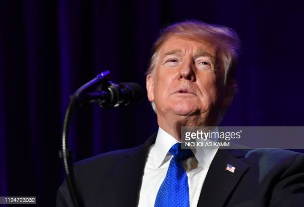 US President Donald Trump speaks at the Major County Sheriffs and Major Cities Chiefs Association Joint Conference in Washington DC on February 13...