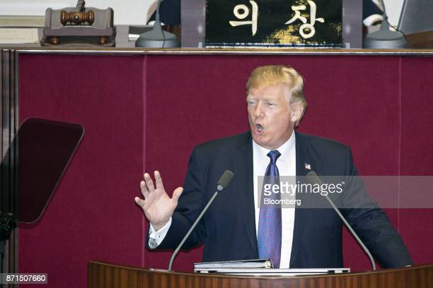 US President Donald Trump speaks at the National Assembly in Seoul South Korea on Wednesday Nov 8 2017 Trump called on the world to abandon support...