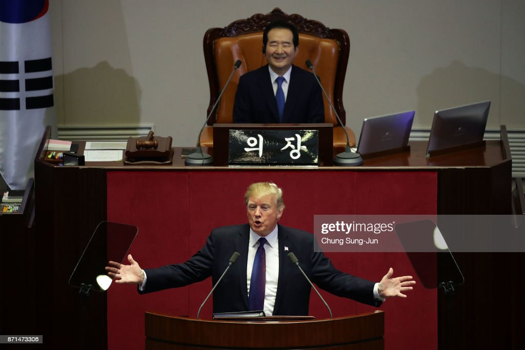 U.S. President Donald Trump speaks at the National Assembly on November 8, 2017 in Seoul, South Korea. Trump is in South Korea as a part of his Asian tour.
