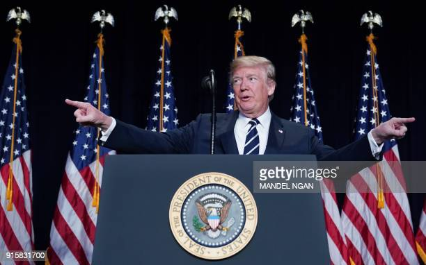 US President Donald Trump speaks at the National Prayer Breakfast at a hotel in Washington DC on February 8 2018