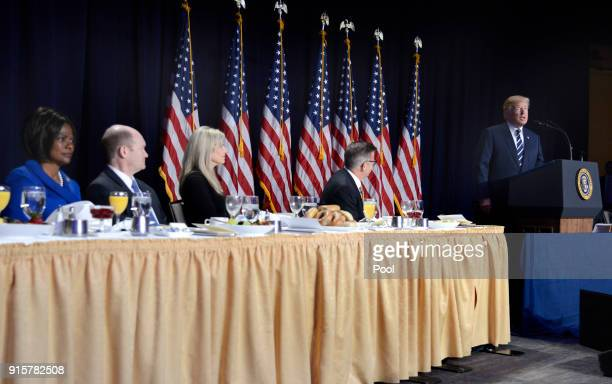 President Donald Trump speaks at the National Prayer Breakfast on February 8 2018 in Washington DC Thousands from around the world attend the annual...
