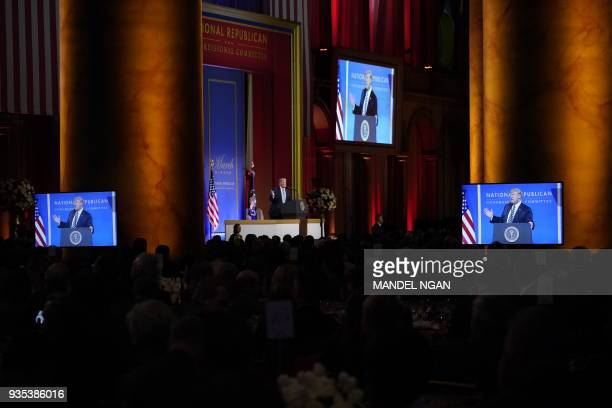 US President Donald Trump speaks at the National Republican Congressional Committee March Dinner at the National Building Museum on March 20 2018 in...